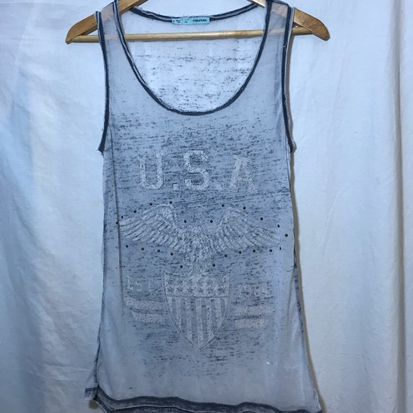 Maurices Faded USA Tank EST. 1984 Burnout Small S
